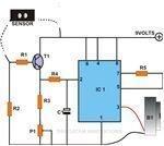 Simple Rain Sensor Using IC 555, Circuit Diagram, Image
