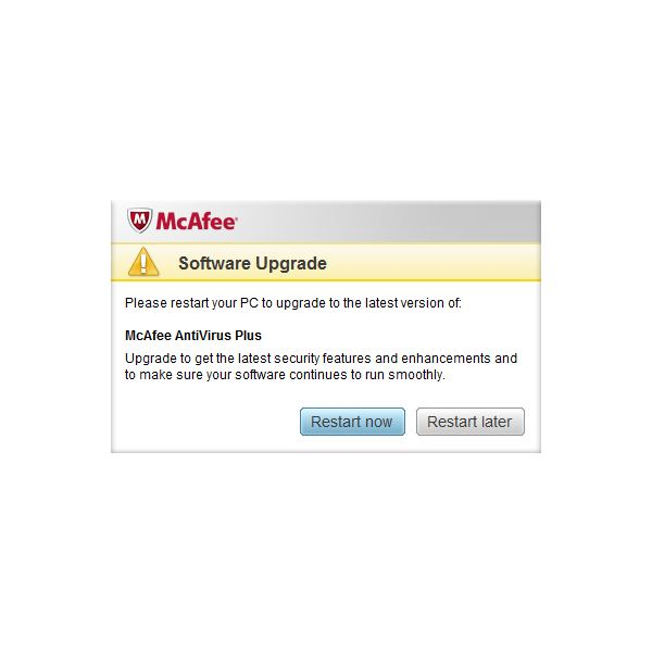 McAfee Antivirus Plus 2011 Only Require a Restart When Upgrading the Software