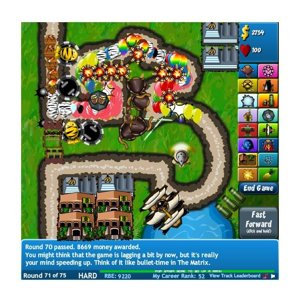 Bloons Tower Defense 4 Map 2 Screenshot