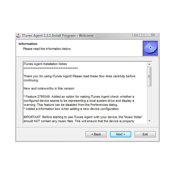 iTunes Agent Install Notes