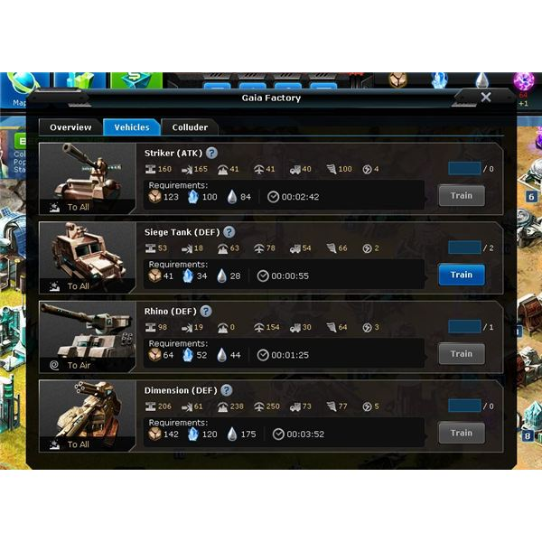 Browser Game Guides: Exoplanet War Gaian Military Units