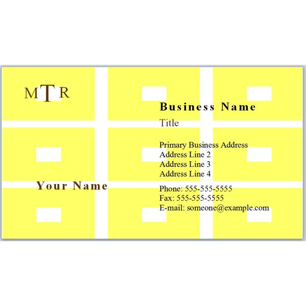 Business Card With Yellow Rectangles and Monogram