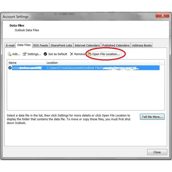 How to backup Outlook 2010: Location