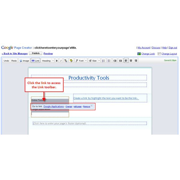 Figure 1: Use the Link toolbar to edit links or pages, or to preview pages.