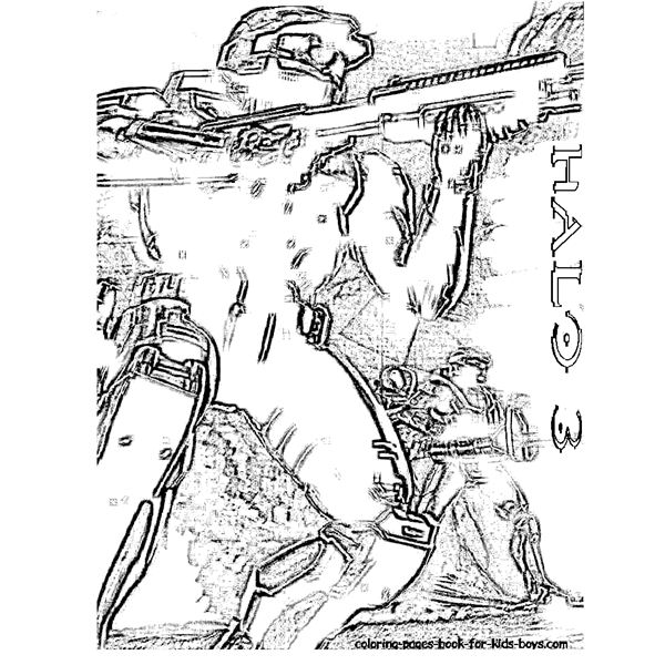 09 halo 3 combat at coloring pages book for kids - 3 Coloring Page