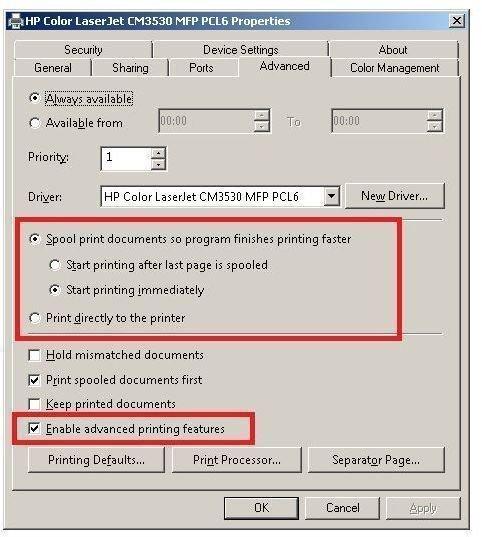 Windows 7 Printer Properties