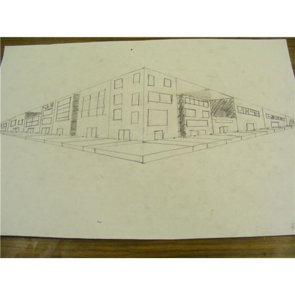 Street scape with two vanishing points