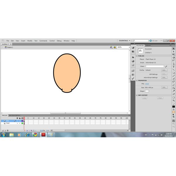 Use The Oval Tool & Eraser To Draw The Chin