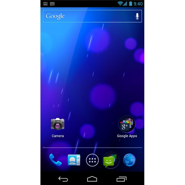 The Android 4.0 Ice Cream Sandwich Home screen