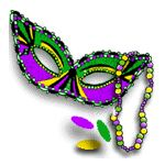 Mardi Gras mask cateyes icon flip