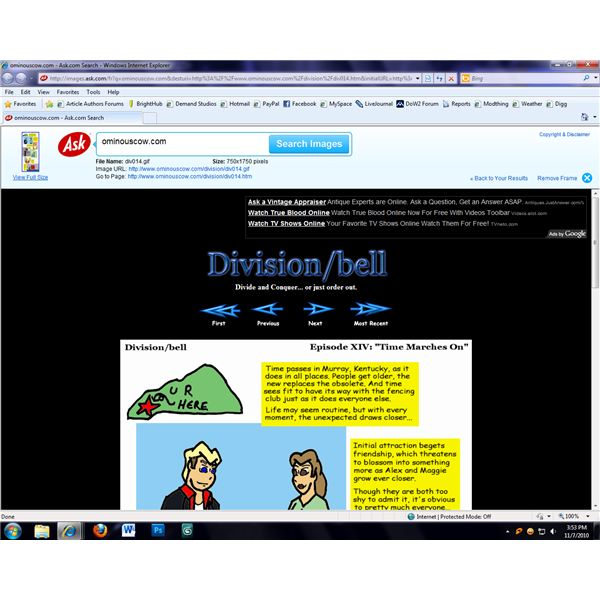 Ask displays a thumbnail and image information in a frame above the page.