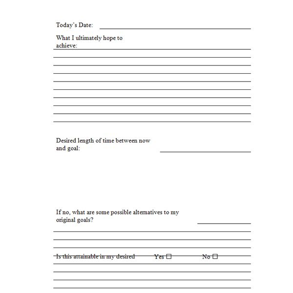 Four Free Printable Goal-Setting Worksheets for Microsoft Word