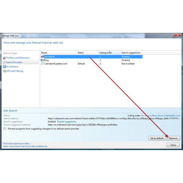 Removing Ask Search in IE