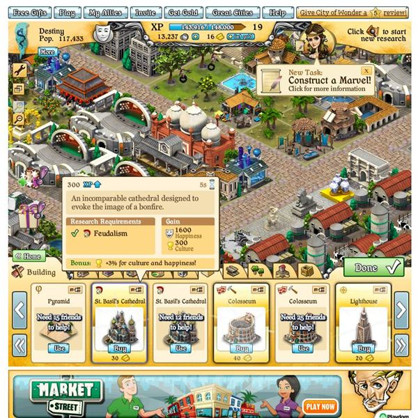 City of Wonder Buildings Guide- Grow your city on Facebook