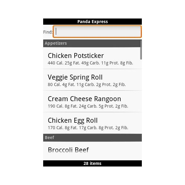 Fast Food Calorie Counter Android App