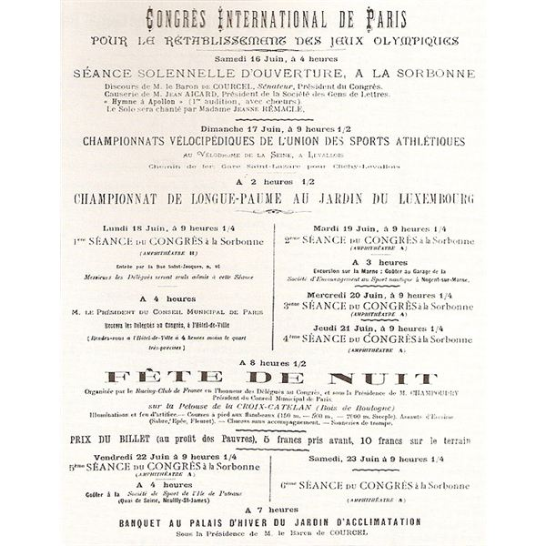 Olympic Congress 1894 Schedule