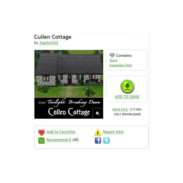 Download Twilight Cullen House for The Sims 3 and More!