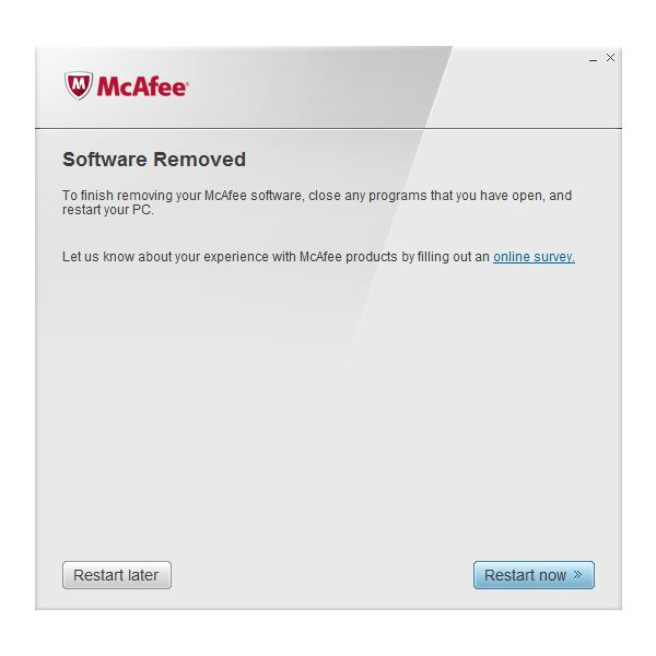 Successful removal of Mcafee programs