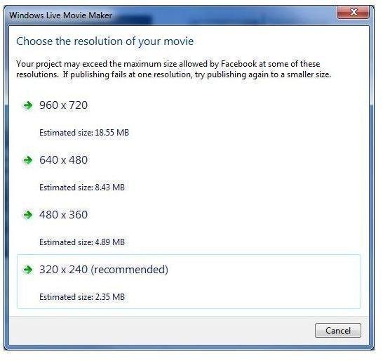 Figure 3 - Windows Movie Maker - Facebook