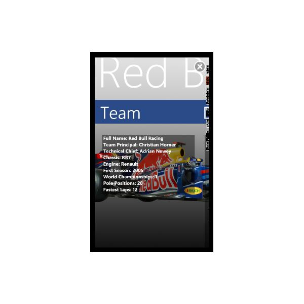 F1 2011 Info Formula 1 app for Windows Phone