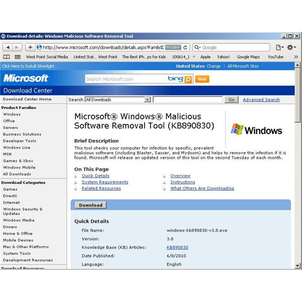 using the microsoft free malicious software removal tool