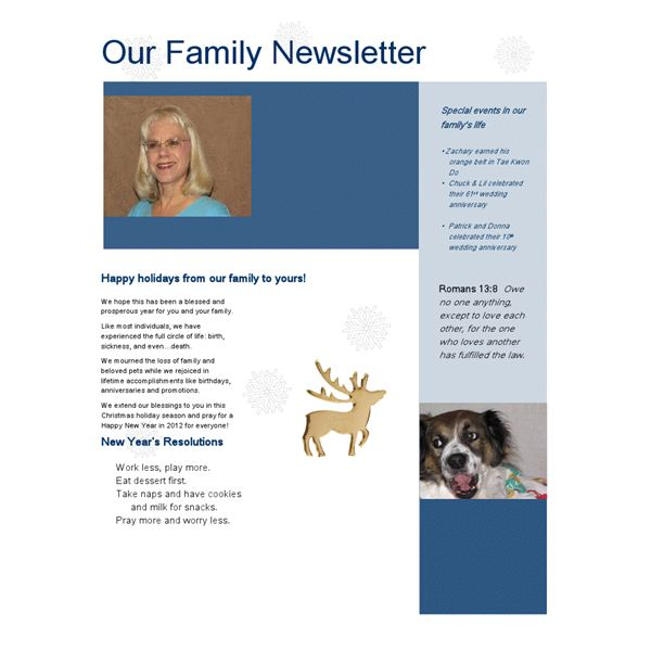 Newsletter example created from a Word Template