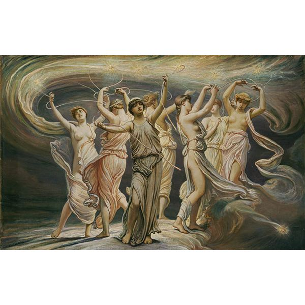 1885 Oil On Canvas painting by Elihu Vedder Depicting the Greek Mythology Surrounding the Star Cluster