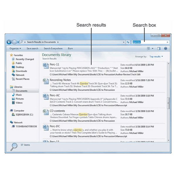 Fig 2 - Search Results - Windows 7 Explorer