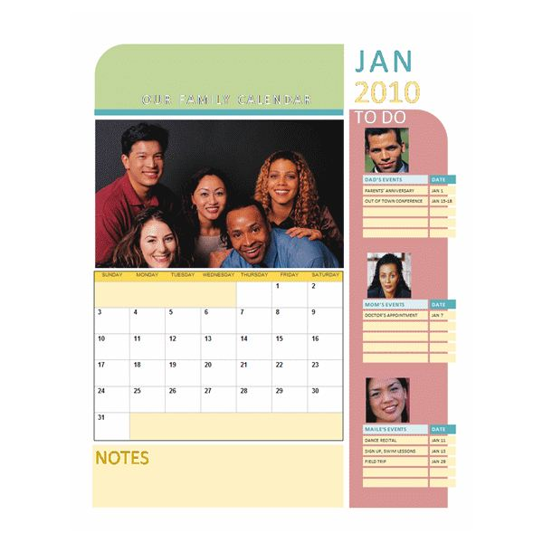 Downloadable Family Calendar For Microsoft Word 2010