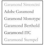 Garamond fonts,typography old style