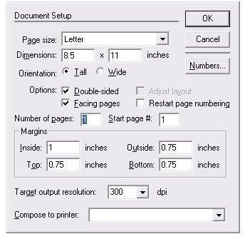 The Document Setup dialog box
