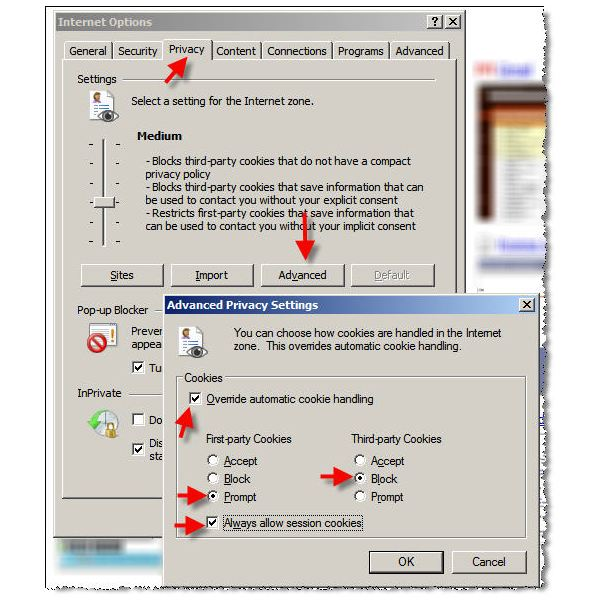 Figure 2: Setting Cookie Settings