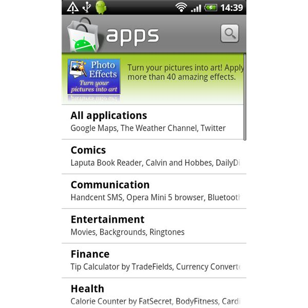 Android Market Apps Categories