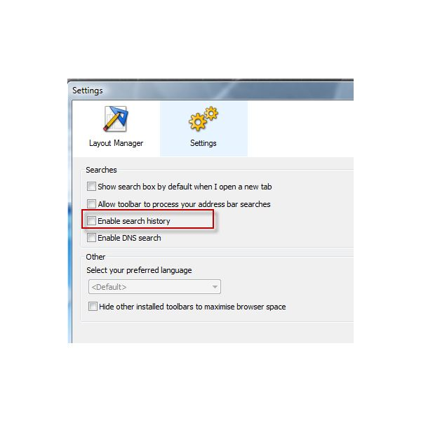 IE: Disable Search History in Dogpile Web Search