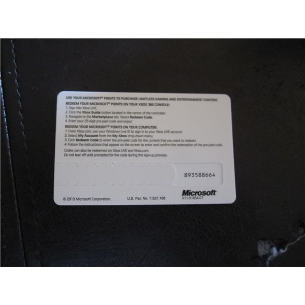 Xbox Live Marketplace Points Card