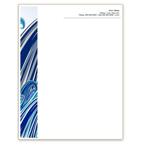Six free letterhead templates for microsoft word business or blue waves letterhead spiritdancerdesigns Images