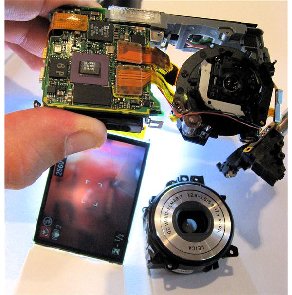 Partly disassembled Lumix digital camera