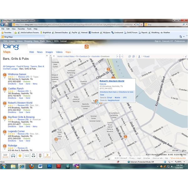 Local business information is easy to find with Bing Maps.