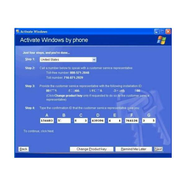 activation code windows xp home edition