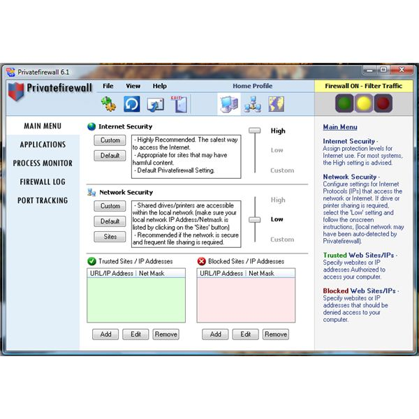 User Interface of Privatefirewall