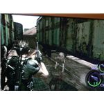Chris and Sheva are attacked by infected dogs in a trainyard, during Resident Evil 5.