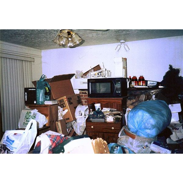 Photo of the living room of a compulsive hoarder - source anonymous - image released under Creative Commons Attribution 3.0
