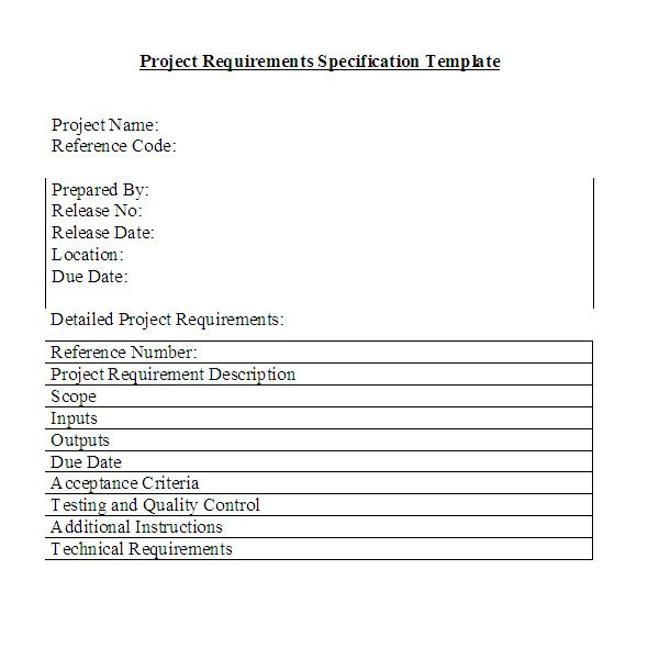 Free Downloadable Project Requirements Specifications Template