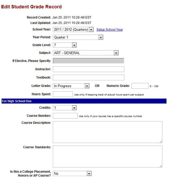 Homeschool Reporting Online is very basic record-keeping software.
