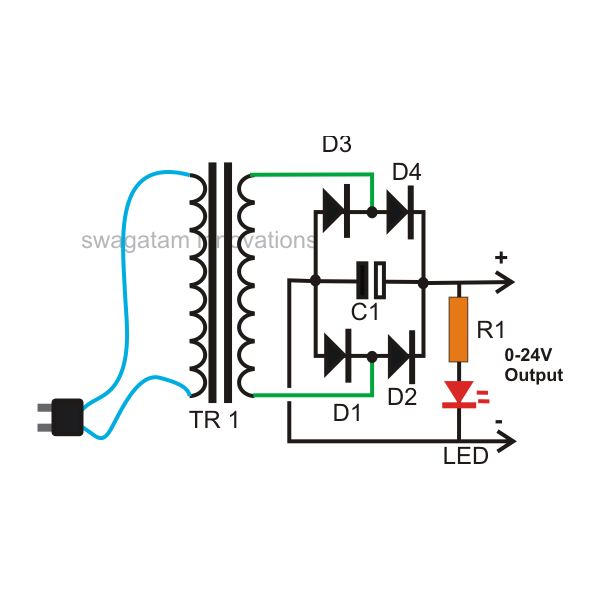 How to Build a Homemade 24 Volt AC to DC 20 Amp Transformer ... A V Amp Wiring Circuit on