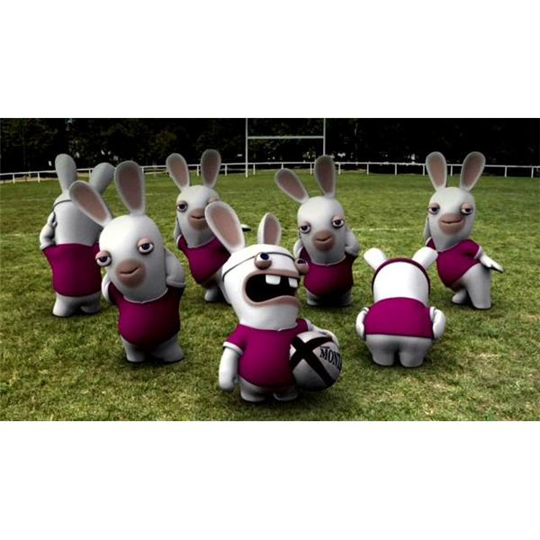 Raving Rabbids playing soccer