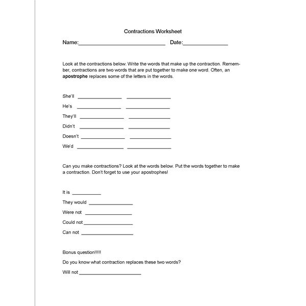 Printable English Worksheets High School : Contractions worksheet and lesson plan