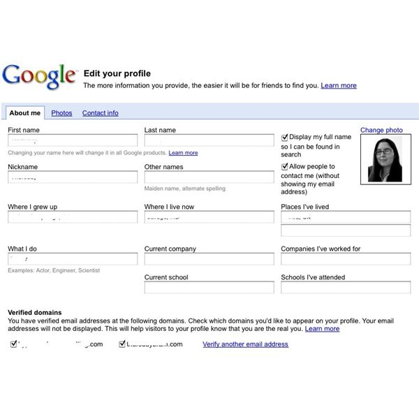 Editing a Google Profile