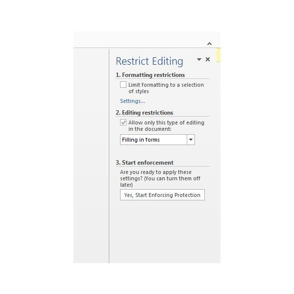 Figure 5: Restrict Editing