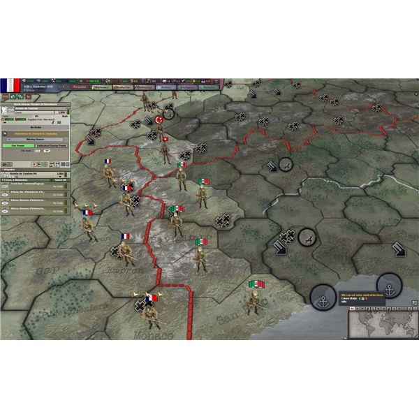 Zoom in tight and Counters become little soldiers in HoI III